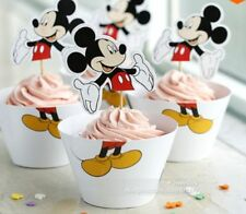 NEW MICKEY MOUSE CUPCAKE PICKS AND WRAPPERS  (12)