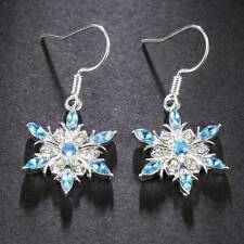 Charm 925 Silver Aquamarine Snowflake Earrings Womens Christmas Jewelry Gifts