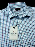 UNTUCKit Wrinkle-Free Blue White Gingham Check 100% Cotton Shirt