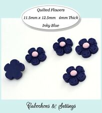10 x Retro Quilted Style Daisy Cabochons Stitched Flowers Inky Blue