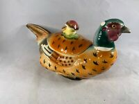 Vintage Ceramic Pottery Covered Pheasant Dish Japan Mid Century a396