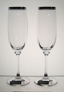 "STEPHANIE PLATINUM MIKASA Champagne Flutes 8 5/8"", SET/2 Labels Attached"