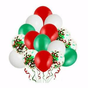 """20pc12"""" White, Red, Green & Red Green Confetti Latex Christmas Balloon Bouquet"""