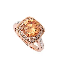 Stunning 18K Rose Gold GF Champagne SWAROVSKI Crystal Wedding Engagement Ring
