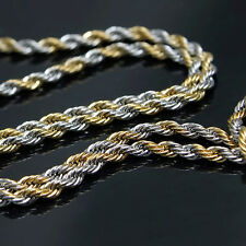 """New Mens Gold & Silver Tone Stainless Steel Rope 7mm 30"""" Chain Necklace 105G"""