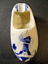 Vintage Delft Delfd Dutch Holland Ceramic Shoe Ashtray Handpainted Windmill Clog