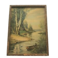 Vintage Landscape Print Signed Lyman C Powell Antique River Picture Framed Art
