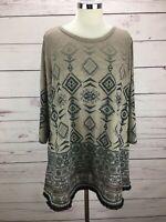 Ali Miles Women's Plus Size 1X Top 3/4 Sleeve Knit Aztec Print Fringe Tunic