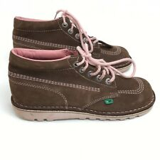 Kickers Shoes UK 7 EU 40 High Tops Brown Leather Laced Woman's Casual 291989