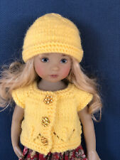 ***Fall *** Yellow Hand Knit Sweater, Hat For Dianna Effner Little Darling 13""