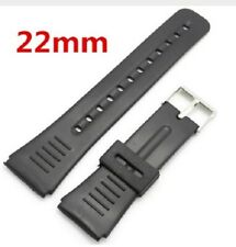 22mm Black Rubber Watch Strap Band 22 mm Lug + 2 Spring Bars Pins Silicone W12