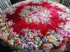 Vintage 1970s Velvet Tablecloth Italian Red Colorful Floral Retro Bohemian