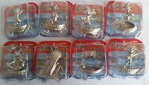 Disney Mickey Mouse diecast silver pirate warship figures set of 8 new