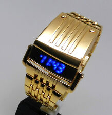 New Retro Vintage Computron Look Mens Watch Blue LED Gold Tone Steel Finish