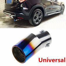 Universal Silver&Blue Slanted Car Exhaust Pipe Muffler Tip End Cover 304 Steel