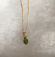 """925 Sterling Silver With Gold Russian Diopside Green Stone Pendant 18"""" Chain"""