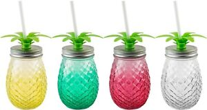 4 ASSORTED COLORS 17.5OZ GLASS PINEAPPLE SIPPER W/STRAW