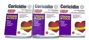 Coricidin HBP Cough & Cold Tablets 16 Count Per box Lot Of 3. Exp 09/20