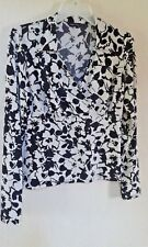 Tesco F&F Florence And Fred Ladies Ivory Cream Black Floral Top Size 12