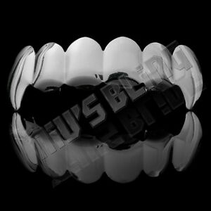 18K White Gold Plated Silver Vampire Fangs Tooth Top GRILLZ Mouth JOKER Teeth