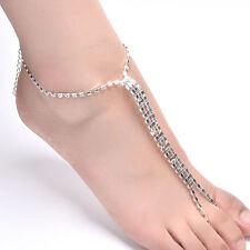 Fashion Barefoot Beach Sandals Bridal Wedding Rhinestone Anklet Foot Chain 3C