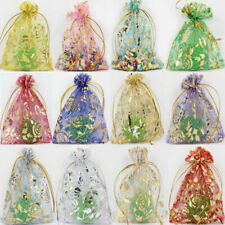 50Pcs Rose Sheer Organza Wedding Party Favor Gift Bag Candy Bag Pouch Decoration