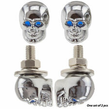 Skull Bolt Blue Motorcycle Car License Plate Bolt Stud