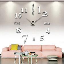 1.2m Modern DIY Analog Large Wall Clock 3D Mirror Surface Sticker Home Office AU