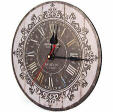 Silent Round Wooden Wall Clock 12 Inches Retro Style Home Decor