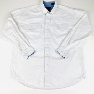 Roper Mens SZ Large Button Up Western L/S Shirt Off White Striped