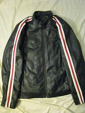 Vegan Faux Black Leather Motorcycle Jacket style Sport Cafe Racer Striped Men XL
