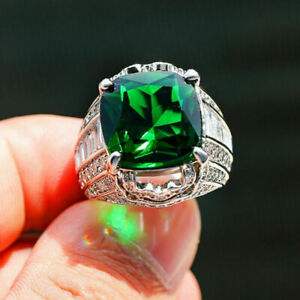3Ct Cushion Cut Green Emerald Solitaire Engagement Ring 14K White Gold Finish