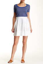 Three Dots Pleated Linen Skirt White XS NWT $128