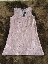 LONG TALL SALLY Pink Sequined Long Vest Top Size M