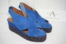 Aquatalia JAIDA Waterproof Platform Wedge Espadrille Sandal Blue Suede US 6 M