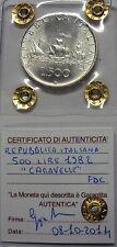ITALIA REPUBBLICA 1982 500 LIRE CARAVELLE DA DIVISIONALE ZECCA FDC SIGILLATA