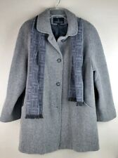 Womens London Fog Wool Coat Trench Peacoat Gray Charcoal Scarf Size 14 New