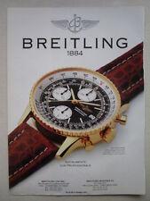 8/1991 PUB MONTRE BREITLING WATCHES OLD NAVITIMER ORIGINAL AD