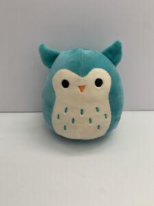 "Squishmallow Plush Winston the Owl Small 5"" Kellytoy Stuffed Toy Blue Teal Aqua"