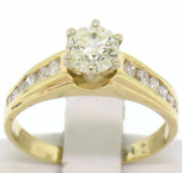 14k Yellow Gold Finish Round Cut Diamond Solitaire W/ Accents Engagement Ring