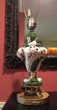 Antique Capodimonte Majolica Italian Pottery Lamp with Putti Metal Dolphin Base