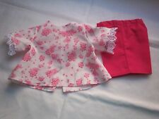 "American Made 18"" Girl Doll Clothes Pink Flowers on White Top & Hot Pink Shorts"