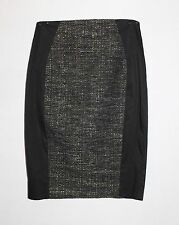 CUE IN THE CITY Black Panel Tweed High Waist Pencil Skirt Size 12-M BNWT #SH102