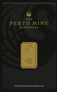 Minted 99.99% GOLD Bar 5 Gram. Perth Mint Bullion in Tamper Evident Display Card