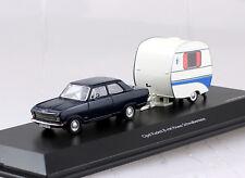 Opel Kadett B mit Knaus Schwalbennest blau 1:43 Schuco Modellauto