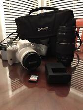 WHITE Canon EOS Rebel SL1 18.0MP Digital SLR Camera 18-55 lens & 75-300 mm lens