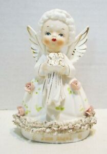 "FINE ""A"" QUALITY VINTAGE JUNE BIRTHDAY GIRL ANGEL CERAMIC FIGURINE JAPAN"