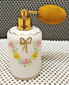 Antik Spray Birne Parfüm Glas Opalin Weiß Dekoration Schleife Golden Und Blume