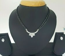 "18Carat White Gold Cubic Zircon  Mangalsutra Necklace set with  16"" Chain"