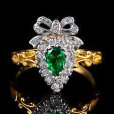 18ct Gold On Silver Green Paste Stone Ring